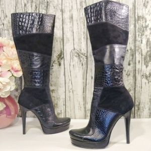 Prialpas Gomma   black leather reptile boots